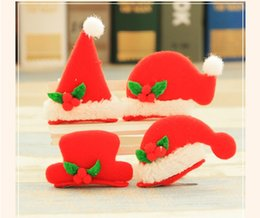 Wholesale Red Light Hairpins - Christmas Red Hat Hairpin Lighted Women's Girls Gift Children Hair Clip Family Party Head Lovely Ornament