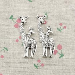 Wholesale Deer Charm Pendant - 30pcs Charms giraffe deer 54*22mm Antique Silver Pendant Zinc Alloy Jewelry DIY Hand Made Bracelet Necklace Fitting