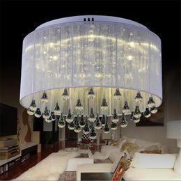 lámparas de techo de tela Rebajas Moda moderna tela luz de techo araña luz Crystle plata lámpara colgante de cristal luz de techo sala de estar dormitorio