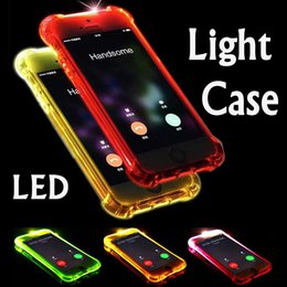 Caso de nota led on-line-Chamada relâmpago flash led light up suave tpu de borracha caso capa para iphone xs max xr x 8 7 6 plus 5 samsung galaxy s10 e s9 s8 nota 9 8