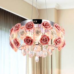 Wholesale modern crystal pendant foyer chandelier - Modern Crystal chandelier lamps For kitchen Luxury Hotel rooms Rose flower Entry Foyer lighting with E14 Led lamp LLFA