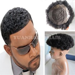 Wholesale Lace Wigs Hair Sale - Hot Sale 6inch 1B Virgin Indian Short Hair Afro Curl Toupee for Black Men Free Shipping