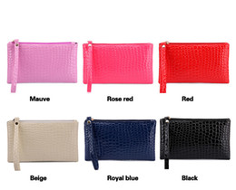 Wholesale Female Crocodiles - New hotsale cute edition pure color pu leather coin purse embossed zipper crocodile grain change crocodile purse Fashion female wallet