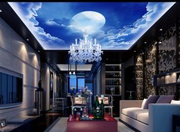 Wholesale Vinyl Stairs - High Quality Costom Heavenly Stair Blue Sky Clouds Moon Living Room Ceiling home decor designers