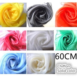 Wholesale Scarf Mixed Candy Color - 60 * 60CM candy color performance small scarf dance small square chiffon mixed yarn handkerchief