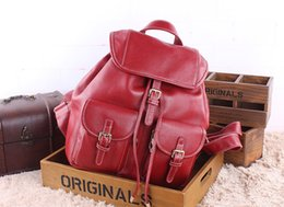 Wholesale Leather Backpacks Europe - New Genuine Leather Double Shoulder Bag Europe & America Style Brand Cow Leather Drawing String Women Backpacks Travel Casual Backpacks