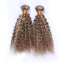 Wholesale Curly Hair Two Tone Color - Piano #8 613 Mixed Color Peruvian Virgin Human Hair 3Pcs Kinky Curly Light Brown Highlight Blonde Two Tone Human Hair Weave Bundles