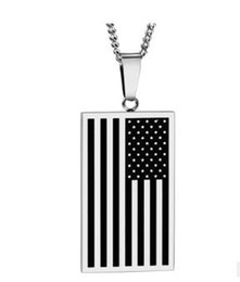Wholesale Stainless Chain Usa - Brand US Flag Necklaces & Pendants Gold Color Stainless Steel USA American Chain For Men Women Gift Hot Fashion Jewelry TOP1869