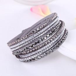 Wholesale Rhinestone Leather Bracelets - Wholesale- 2016 New Leather Bracelet Rhinestone Crystal Bracelet Wrap Multilayer Bracelets for women feminino pulseras mulher Jewelry