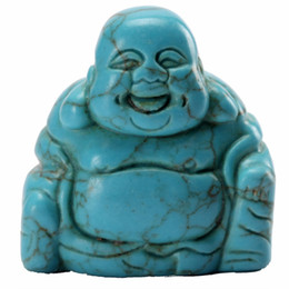 Wholesale carved stone figurines - Wholesale-Opalite Turquoise Natural Stone Carved Buddha Red jasper 1.5 inch Maitreya Figurine Chakra Healing Quartz Reiki Free pouch