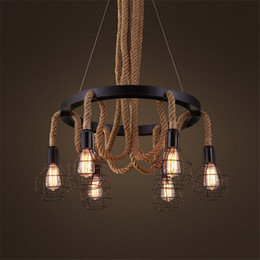 Wholesale Vintage Fluorescent Light - Luxury Retro rope Industrial pendant Lights edison Vintage Restaurant Living bar Light American Style nordic fixtures lighting