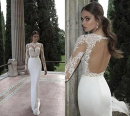 Wholesale Wedding Dress Lace Feathers Satin - 2017 Cheap Spring Summer Mermaid Wedding Dresses High Neck Long Sleeves Sheer Lace Backless Bridal Gowns Under 100