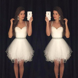 white dresses for sweet 15 Australia - Sweety Homecoming Dresses Puffy Short Mini White Spaghetti Straps Beaded Crystals Ruffles Graduation Party Dress Prom for Sweet 15 Girl DTJ