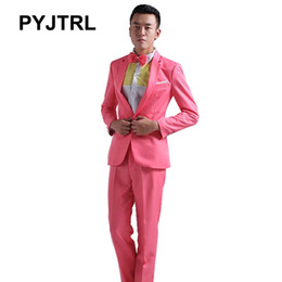 Wholesale Colorful Mens Suits - Wholesale- Colorful Dress Hosted For Men Wedding Prom Brand Clothing Mens With Pant A Single Row Buckle Skinny Suits