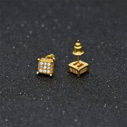 Wholesale Real Gold Earrings 14k - 3D Square Earring Hip Hop Real 925 sterling silver jewelry Screw Back pave AAA CZ for men&women
