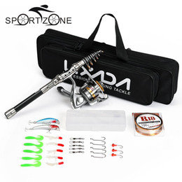 Wholesale Spinning Lure Fishing Rods - Telescopic Fishing Rod and Reel Combo Full Kit Spinning Fishing Reel Gear Set With Line Lures Hooks Fish Carrier Bag Case Pesca