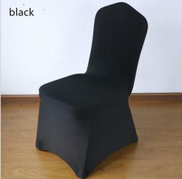 Precios de fundas para sillas de boda online-Cubiertas de la silla de la boda de Spandex del poliéster negro de la alta calidad para las bodas Banquet Hotel Decoración Suministros Precios al por mayor
