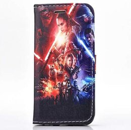 Wholesale Star Flip Case - Fashion Cartoon Star Wars flip Stand PU Leather Cases TPU inside Cover case for iphone 5S SE 6 6S Plus
