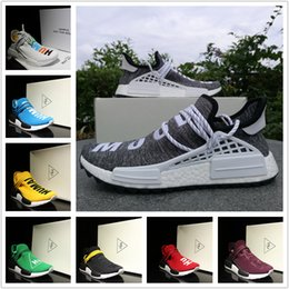 Wholesale Pvc Double - Top Quality Pharrell Williams NMD Human Race Birthday Friends & Family Multicolor NOBLE INK Pale Nude Yellow Core Black Red With Double Box