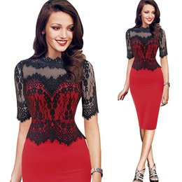 Wholesale Stretch Lace Belt - Women Elegant Pinup Vintage Retro Lace Off Shoulder Patchwork Belted Stretch Colorblock Bodycon Party Fitted Dress