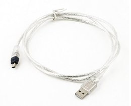 transparent cables Promo Codes - Hot Audio Cables 1.2m USB 2.0 Male To Firewire iEEE 1394 4 Pin iLink Adapter Cable Male To Male Cable Silver Transparent