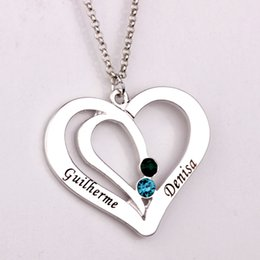 Wholesale Heart Birthstone Necklace - Engraved Couples Necklace 2016 Personality Birthstone Necklaces Custom Made Any Name Valentine's Day Present for Lovers YP2492
