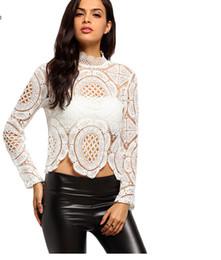 Ropa de estilo bohemio online-Moda vintage blanco de manga larga cuello redondo ahueca hacia fuera las mujeres del estilo bohemio ropa de moda primavera 2019 nueva blusa de encaje
