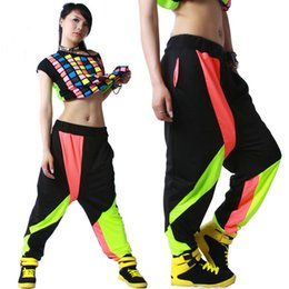 Wholesale Dancing Costumes Kids - Kids Adult Brand Spring Summer Sweatpants Costumes wear thin Colorful patchwork Panelled jazz trousers harem Hip Hop Dance Pants