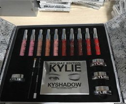 Wholesale Eye Shadow Lip Gloss - High quality KYLIE Holiday Edition Big Box include 10 color lip gloss Lipsticks Shadow Palette, cream shadow, eye linner! free shipping