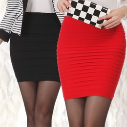 Wholesale Short Skirt Dress For Work - Womens Mini Skirt OL Dress New High Waist Short Skirt Work Formal A Line Stretch Club Wear Skrits Pencil Casual Skirts for Woman