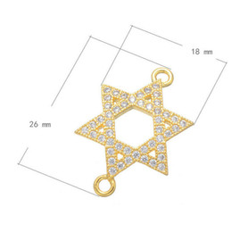 Wholesale Gold Pave Spacer - Wholesale- DIY Jewelry Spacer Connectors Silver Gold Rose Gold High Quality Micro Pave Gold CZ Metal Star Shape Charm