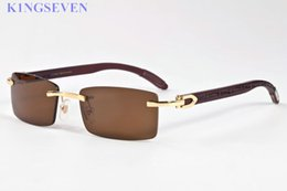 Wholesale Gold Bamboos - luxury brand sunglasses for women designer rimless mens glasses gold metal alloy wood bamboo frame buffalo horn sunglasses