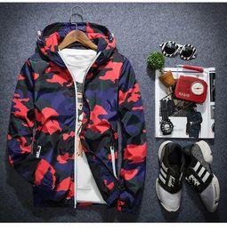 Wholesale Korea Style Male - Mens Camo Thin Windbreaker Pullover Jacket Thin Male Camouflage Windbreaker Coats Korea Style Spring Men's Hooded Windbreaker