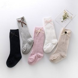 Wholesale Wholesale Over Top Bows - 5 colors 3 size cute sexy thigh high stocking for women bow tie medias long over the knee socks full cotton vertical pattern top quality