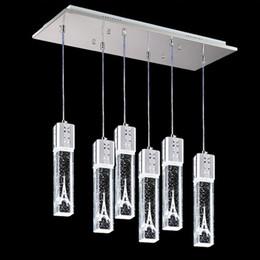 Wholesale Crystal Art Deco Ceiling Lights - Crystal Bubble Column Light Crystal Pendant Lamp Chandelier Ceiling Light Bar Dining Room tower inside white warm white red blue green light