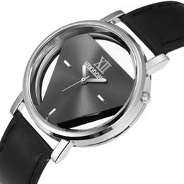 Wholesale Watch Transparent Ladies - Fashion unisex women mens hollow leather roma design watch casual ladies students dress quartz triangle wrist transparent watch