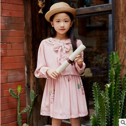 Wholesale Fresh Clothing - Big Girls flowers dresses girl floral printed long sleeve dress children lace-up bows princess dress fresh style girls spring clothing T3646