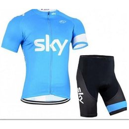Wholesale Team Sky Jersey Bib - 2016 Sky Cycling Jersey Short Sleeve Jersey Bib Shorts Set Pro Team Sky Cycling Clothing Maillot Bike  Bicycle Wear