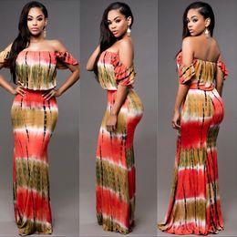 Wholesale Off Shoulder Striped Dress - Off the Shoulder Printed Ruffle Overlay Maxi Dress hot sale summer dresses