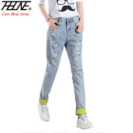 Wholesale Moms Hole - Wholesale- Brand Denim Pants Women Ripped Jeans Torn Casual Trousers Slim Harem Pants Straight Loose Holes Mom Ripped Jeans Female Mujer
