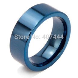Wholesale Rings Canada - yizhan Free Shipping USA UK Canada Russia Brazil Hot Sales 8MM Shiny Blue Pipe His Her The Lord New Men's Fashion Tungsten Wedding Ring