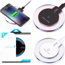 Wholesale apple iphone phone charger - Qi wireless phone charger portable fantasy crystal universal LED lighting tablet charging for samsung galaxy S6 S7 edge for htc lg