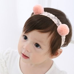 Wholesale Newborn Baptism Headband - 10pcs lot Fashion Pinky Lace Pom Pom Headband Fairy Elastic Hair Bands Baby Shower Baptism Graceful Stretch Newborn Infant Toddler Hairband
