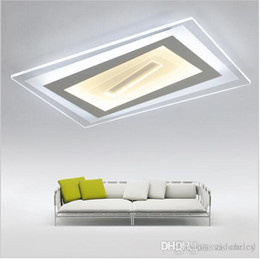 Wholesale Living Room Ceiling Lights Rectangle - Super-thin Acrylic Ceiling lighting led luminaria abajur Square Rectangle modern led acrylic ceiling light for living room lighting fixture