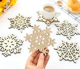 Wholesale Snowflake Mugs Wholesale - Free shipping Wooden Snowflake Mug Coasters Holder Chic Drinks Coffee Tea Cup Mat Decor Mats LLFA
