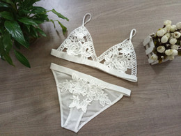 Wholesale Lace Triangle Bralette - Free shipping Sexy Sheer Lacy Lingerie Set Wedding gift for her Soft Wire Free Lace Triangle Bralette Hot Sale FREESHIPPINGBra with Panti