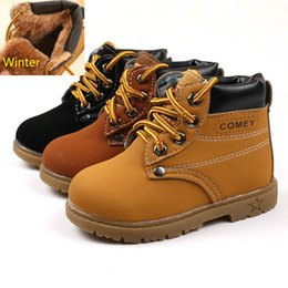 Wholesale Toddler Girls Fashion Boots - 2017 Comfy Kids Winter Fashion Child Leather Snow Boots For Girls Boys Warm Martin Boots Shoes Casual Plush Child Baby Toddler Shoes