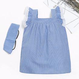 Wholesale Lace Ruffle Girls Dress Headband - Striped Baby Girls Dress Lace Trim Ruffle Sleeve Summer Baby Girls Clothing Cotton Cute Toddler Girls Dress Headband Outfit 2pcs
