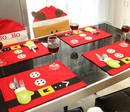 Wholesale red placemats - Christmas Knife Fork Mats Placemats Table mats Decoration Xmas Party Pads Comfortable Dinner Dining Tablecloth Supplies Decorations 2016