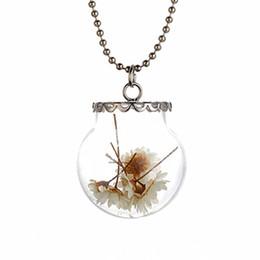 Wholesale Real Angels - 2016 New Wish bottle necklace Real dry flower glass bottle Irish botanical pendant ,natural flowers dandelion necklace